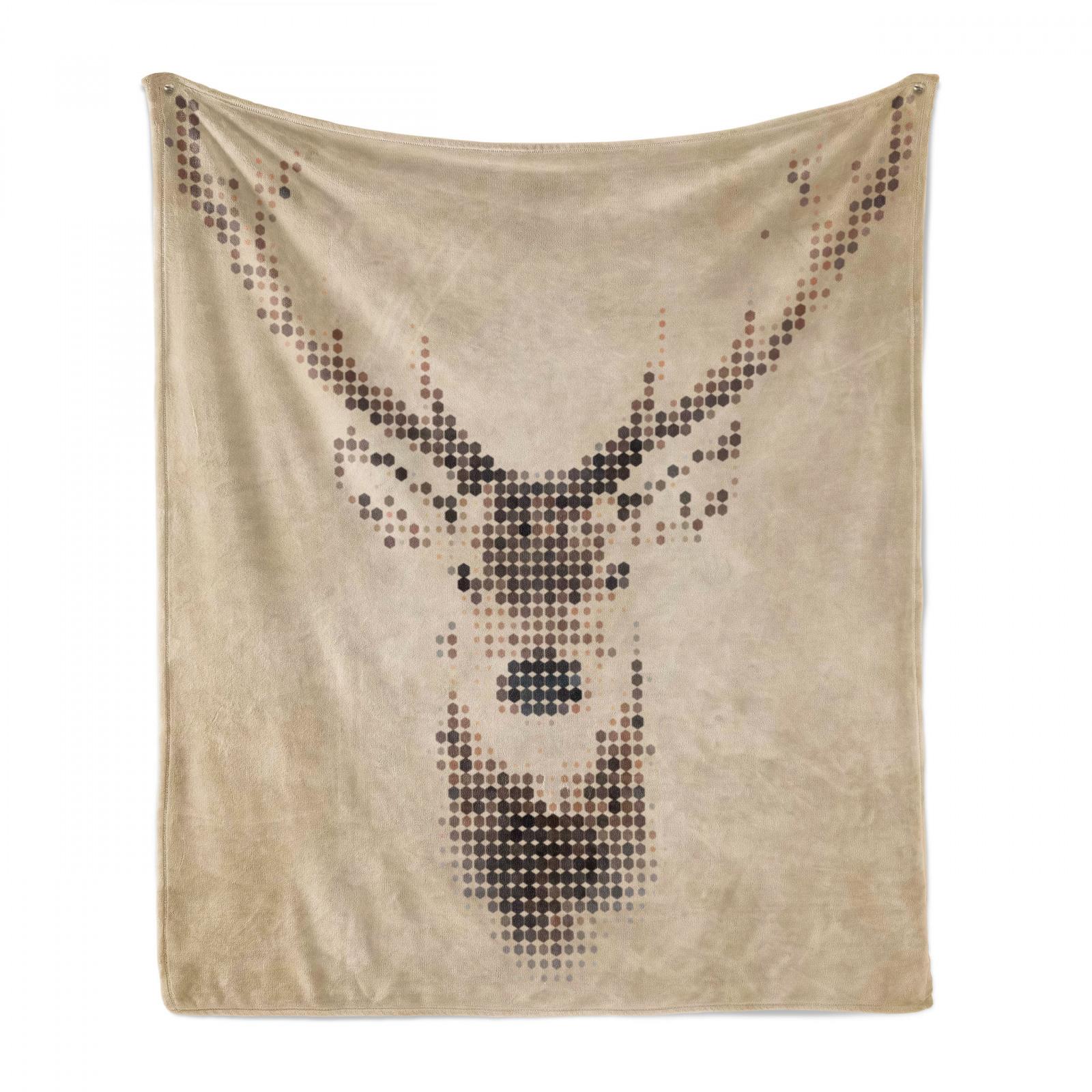 Hirsch Weich Flanell Fleece Decke Deer Portrait mit Punkten