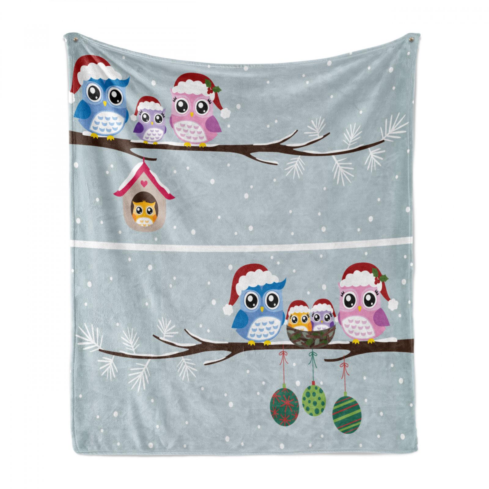 Weihnachten Weich Flanell Fleece Decke Eulen mit Sankt-Hüten