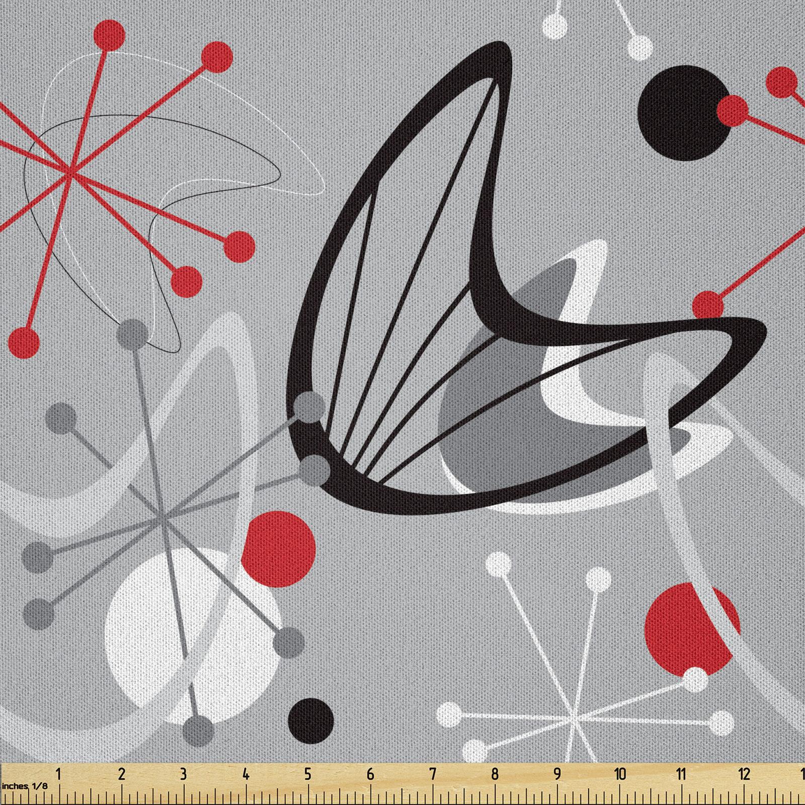 Mitte des Jahrhunderts Mikrofaser Vorhänge Atomic 50er Jahre Design