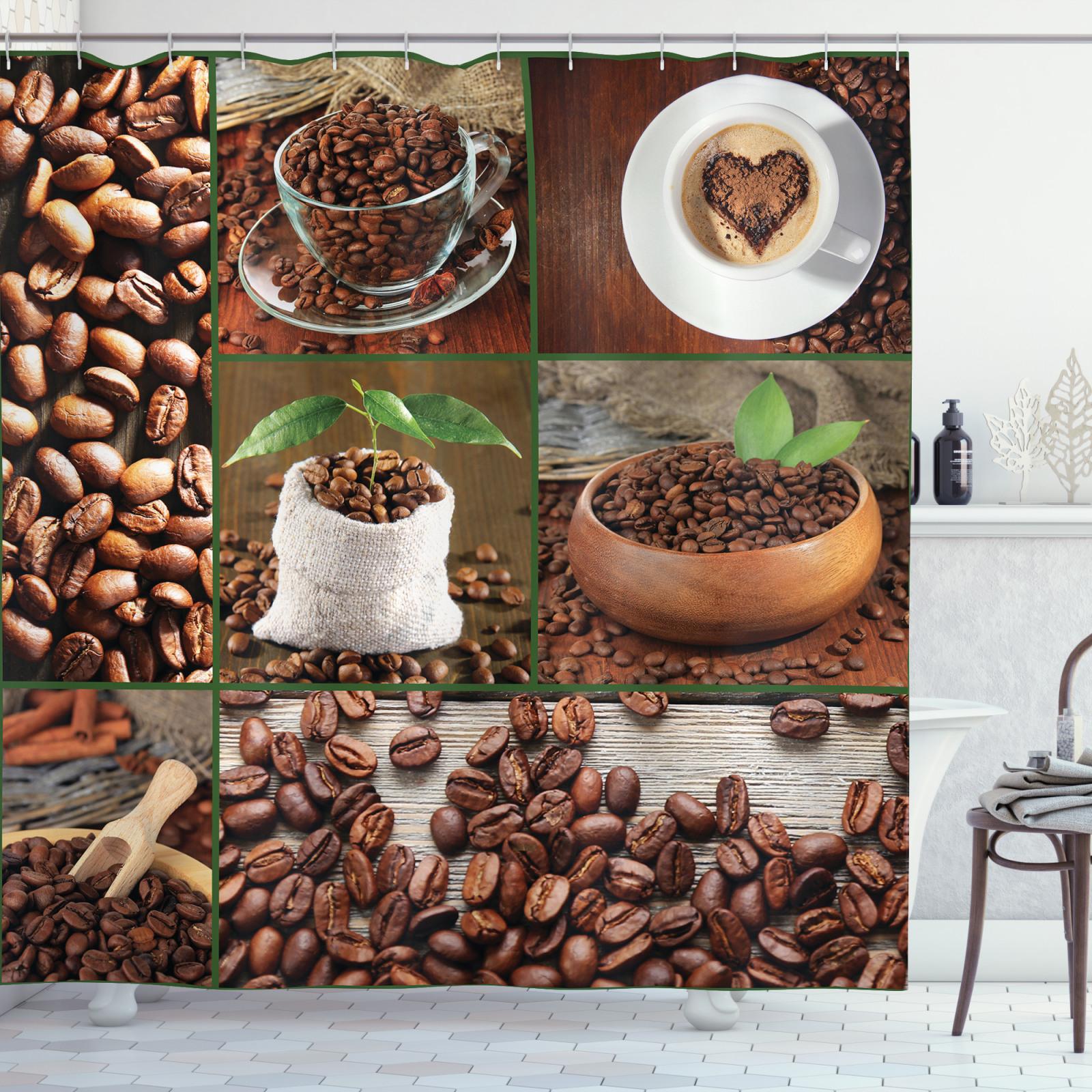 marrón Cortina de bano Granos de café y bolsas   eBay