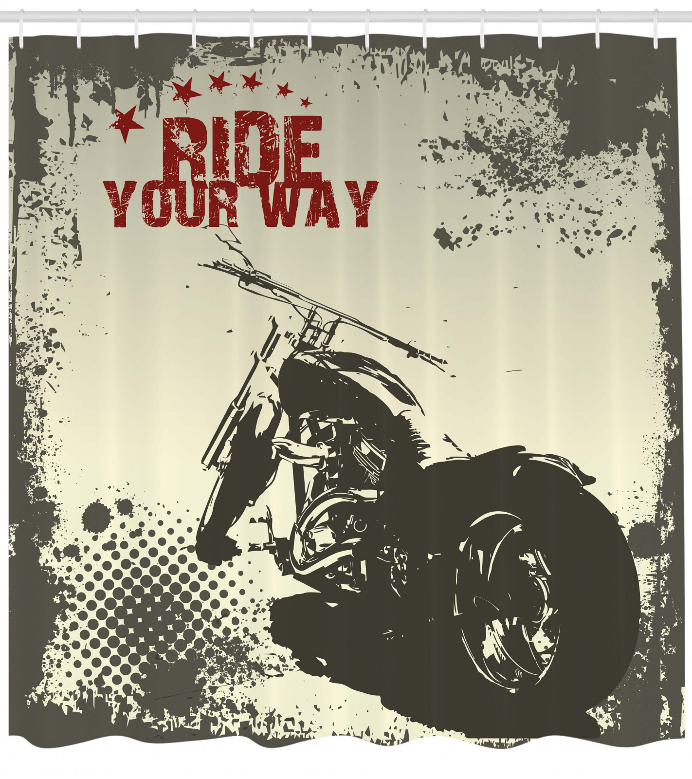 thumbnail 4 - Grey-Shower-Curtain-Adventure-with-the-motorcycle