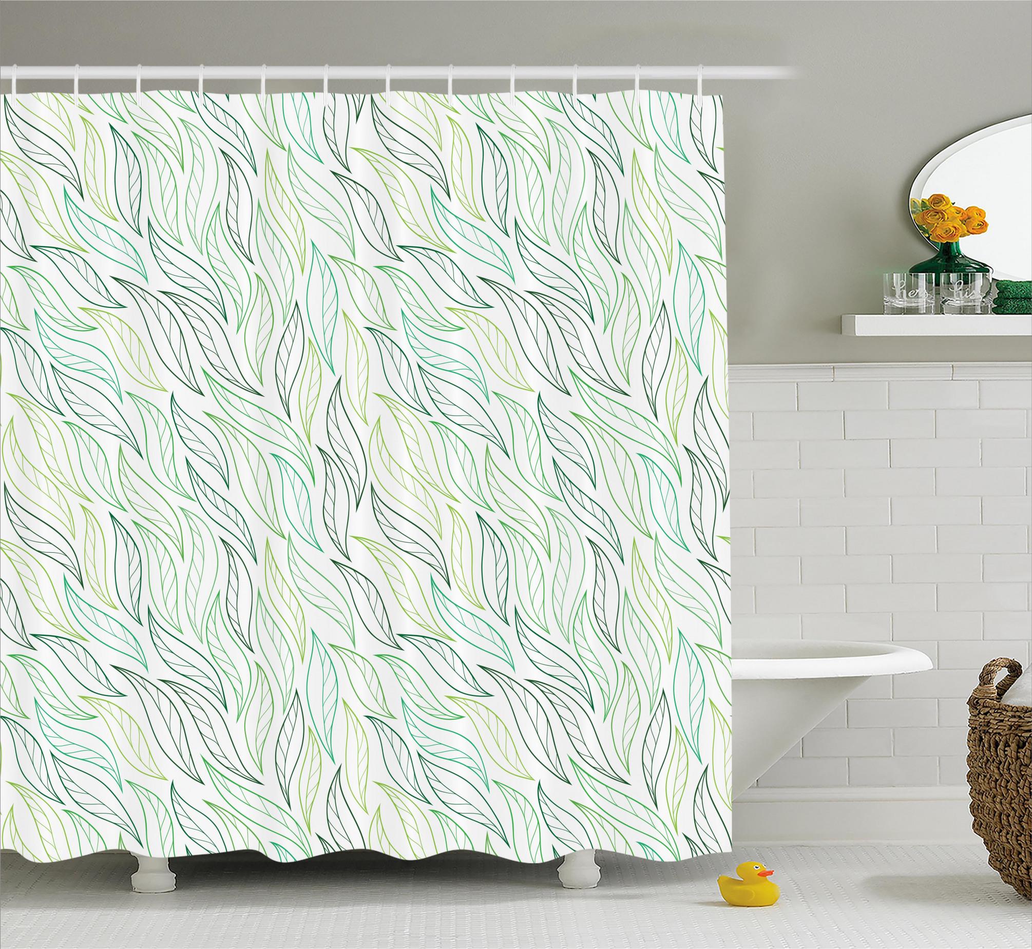 3990 Modern Leaf Patterns Shower Curtain