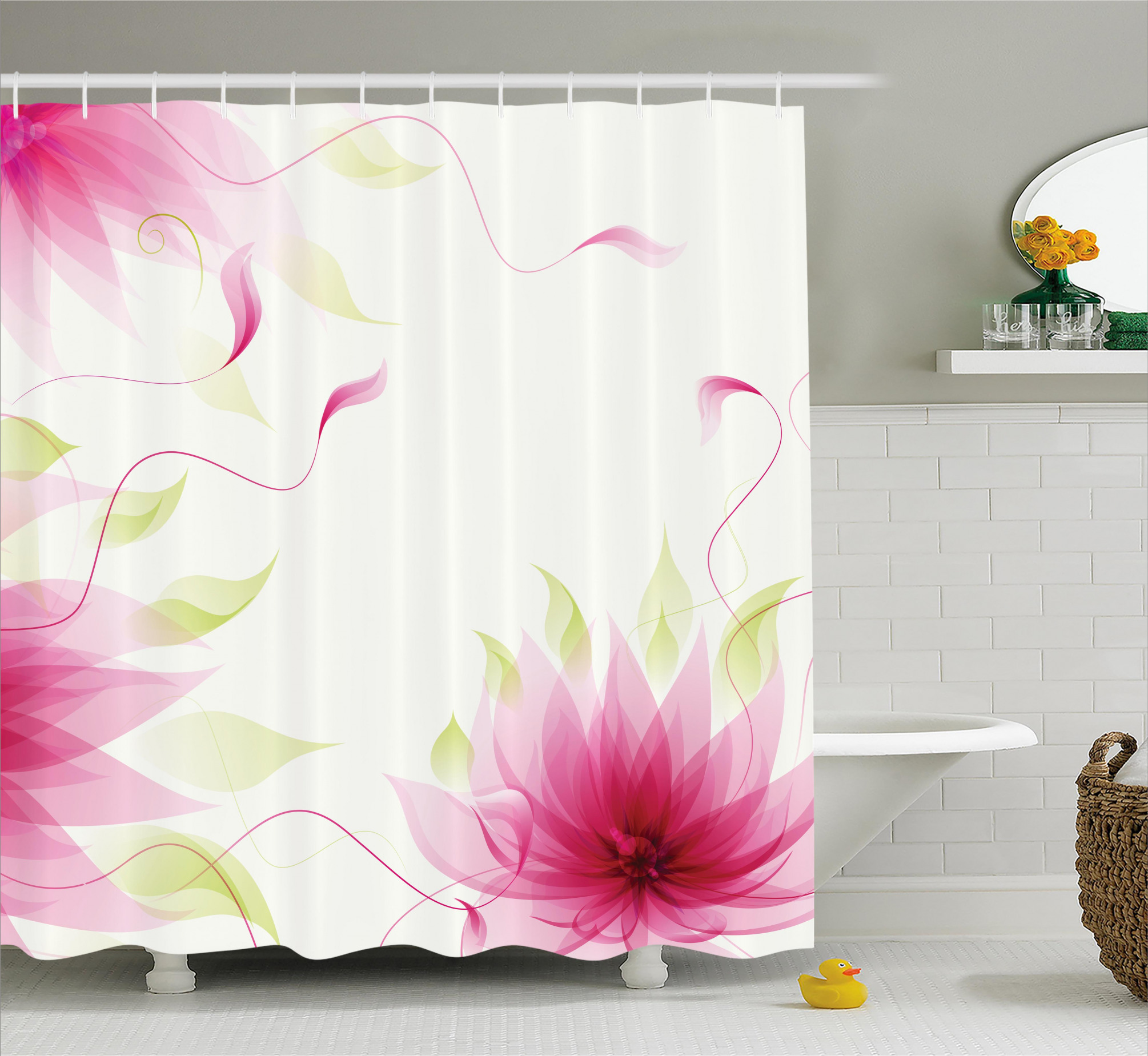 3990 Abstract Natural Lotus Shower Curtain