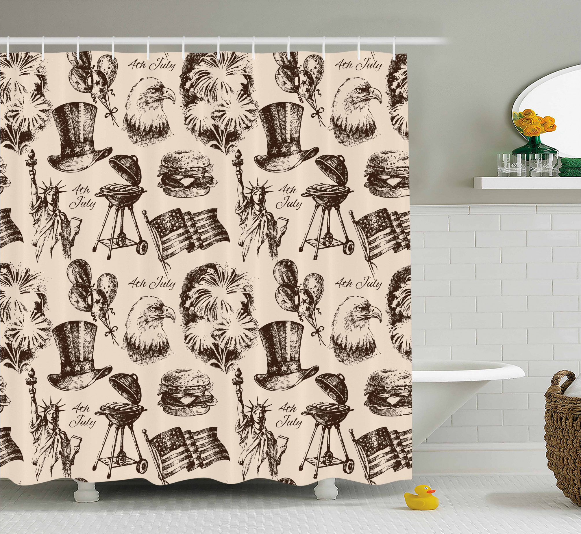 3990 Vintage Americana Shower Curtain