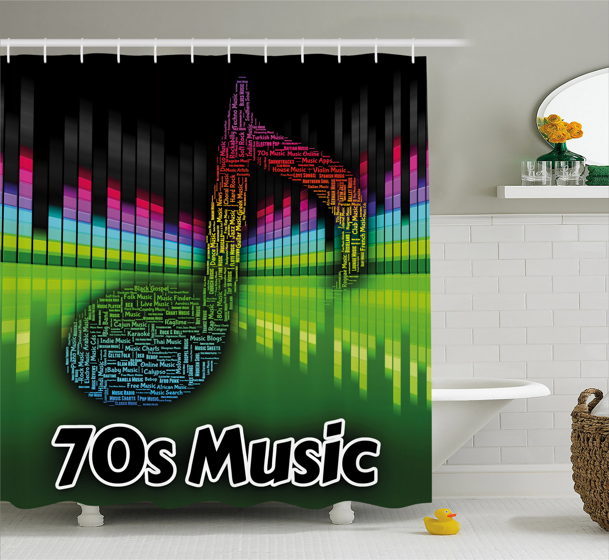 70s Audio Melody Shower Curtain
