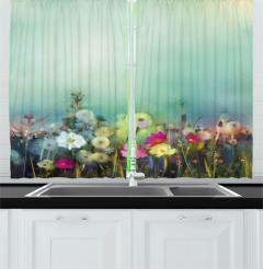 Dandelion Daisy Poppy Kitchen Curtain