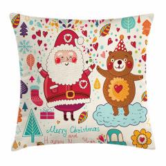 Santa and Teddy Bear Pillow Cover