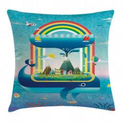 Whale Rainbow Ocean Art Pillow Cover