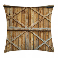 Wooden Timber Door Plank Pillow Cover