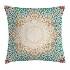 Antique Floral Mosaic Form Pillow Cover