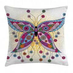 Spring Flowers Butterfly Pillow Cover