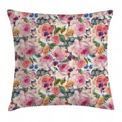 Shabby Chic Rose Floral Pillow Cover