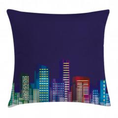 City at Night Cartoon Pillow Cover