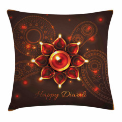 Beams and Diwali Wishes Pillow Cover
