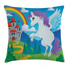 Unicorn with Rainbow Fairy Pillow Cover