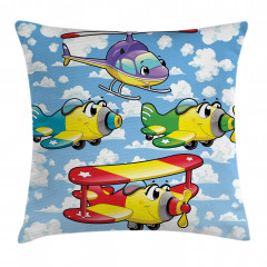 Kids Cute Airplanes Sky Pillow Cover