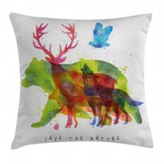 Alaska Animals Bear Wolf Pillow Cover