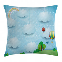 Balloons Clouds Stars Hill Pillow Cover