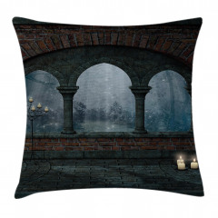 Medieval Castle at Night Pillow Cover