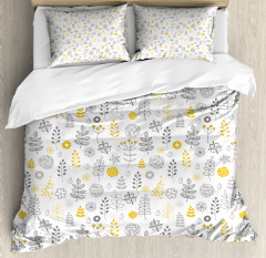 Wild Forest Leaf Flowers Duvet Cover Set