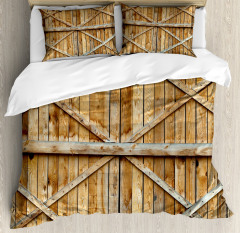 Wooden Timber Door Plank Duvet Cover Set
