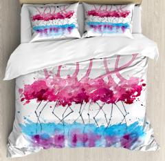 Lovely Flamingo and Bird Duvet Cover Set