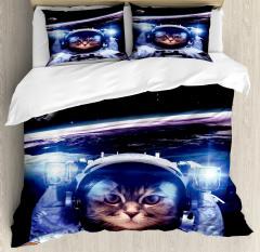 Funny Astronaut Cat Humor Duvet Cover Set