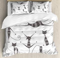 Funny Skinny Striped Cat Duvet Cover Set