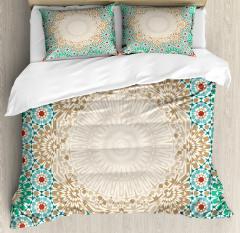 Antique Floral Mosaic Form Duvet Cover Set