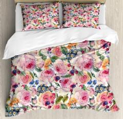 Shabby Chic Rose Floral Duvet Cover Set