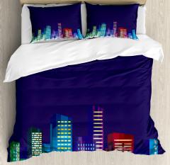 City at Night Cartoon Duvet Cover Set