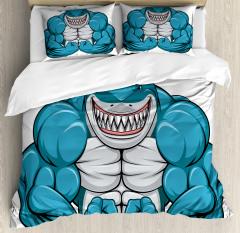 Toothy White Shark Smiling Duvet Cover Set