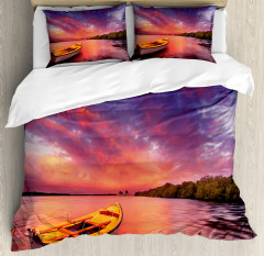 Sea Coast with a Rowboat Duvet Cover Set