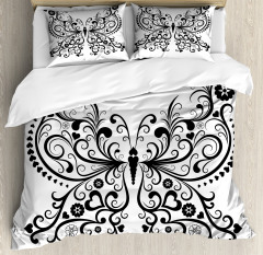 Swirled Wing with Flower Duvet Cover Set