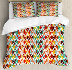 Hexagonal Shape Retro Duvet Cover Set