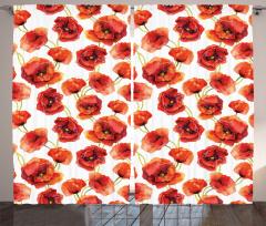 Poppies Garden Floral Curtain