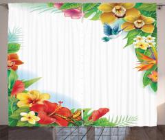 Tropic Flowers Leaves Curtain