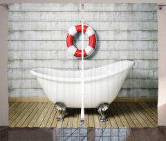 Grunge Wall Sailor Bath Curtain