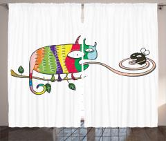 Chameleon on Branch Curtain