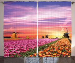 Scenic Tulip Fields Curtain