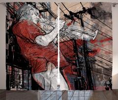 Grunge Jazz Musician Curtain