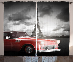 Vintage Car and Eiffel Curtain