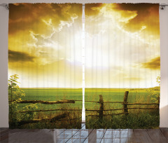 Sunset on Spring Field Curtain
