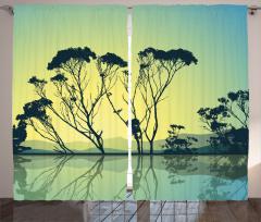 Tree Silhouettes Scenic Curtain