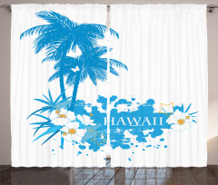 Hawaiian Island Aqua Curtain