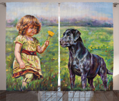 Flower Dog with a Girl Curtain