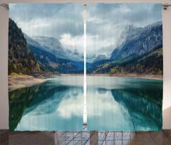 Alpine Lake Sky Forest Curtain
