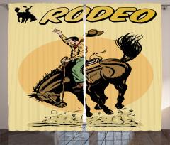 Wild Horse Rodeo Cowboy Curtain