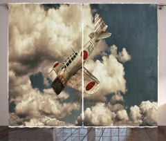 Vintage Plane Model Curtain