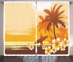 Surfer Tropical Landscape Curtain